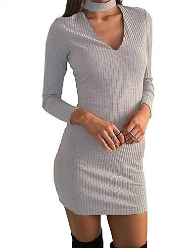 levne Sexy šaty-Dámské Jdeme ven Klub Bavlna Vypasovaný Bodycon Pouzdro Šaty - Jednobarevné Nad kolena Do V