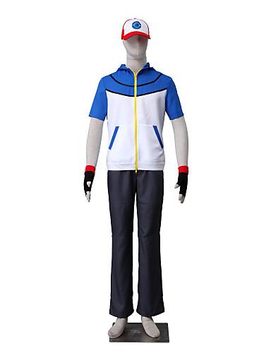 povoljno Anime cosplay-Inspirirana Pocket Little Monster Ash Ketchum Anime Cosplay nošnje Japanski Cosplay Suits Jednobojni Kratkih rukava Top / Hlače / Rukavice Za Muškarci / Žene / Šešir