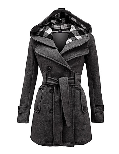 cheap Women's Coats & Trench Coats-Women's Winter Coat Long Plaid Daily Vintage Plus Size Black Red Blue S M L
