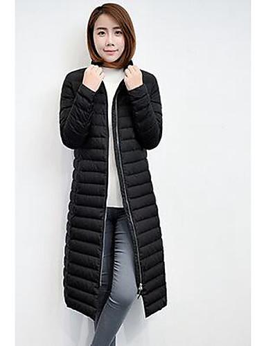 [$50.99] Damen Daunen Mantel,Lang Einfach LässigAlltäglich Solide Polyester Weiße Gänsedaunen Langarm