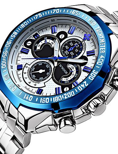 WWOOR สำหรับผู้ชาย นาฬิกาแนวสปอร์ต นาฬิกาข้อมือ สายการบิน นาฬิกาอิเล็กทรอนิกส์ (Quartz) สแตนเลส เงิน 30 m กันน้ำ noctilucent เท่ห์ ระบบอนาล็อก ความหรูหรา คลาสสิก วินเทจ ไม่เป็นทางการ แฟชั่น -