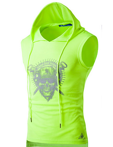 voordelige Heren T-shirts & tanktops-Heren Actief Print T-shirt Sport Doodskoppen Capuchon Zwart / Mouwloos / Zomer
