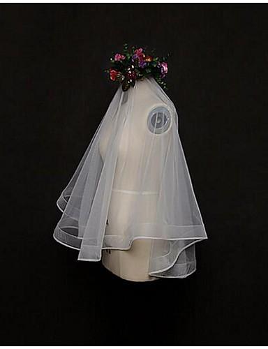 ชั้นเดียว งานผ้าขอบลายลูกไม้ ผ้าคลุมหน้าชุดแต่งงาน Blusher Veils / Elbow Veils / ผ้าคลุมศรีษะสำหรับชุดแต่งงาน กับ Tulle / คลาสสิก