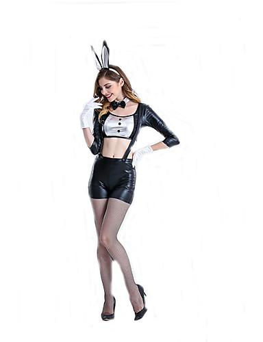 billige Sexy Uniformer-Bunny Jenter karriere Kostymer Cosplay Kostumer Party-kostyme Dame Film-Cosplay Halsklut Topp Bukser Halloween Karneval polyester / Hodeplagg