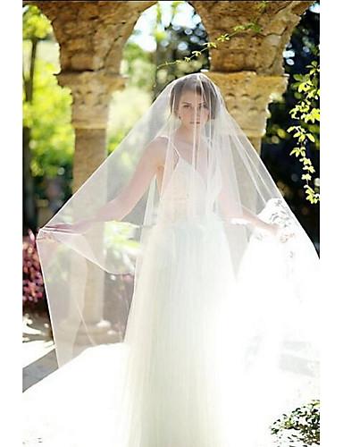 ชั้นเดียว ตัดมุม ผ้าคลุมหน้าชุดแต่งงาน Blusher Veils / ผ้าคลุมหน้าในโบสถ์ กับ Tulle / คลาสสิก