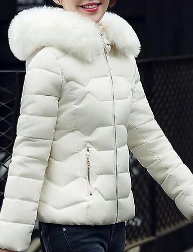 สำหรับผู้หญิง ทุกวัน สีพื้น ปกติ Padded, ฝ้าย แขนยาว ฤดูหนาว ฮู้ด สีเทา / ฟ้า / สีชมพู L / XL / XXL