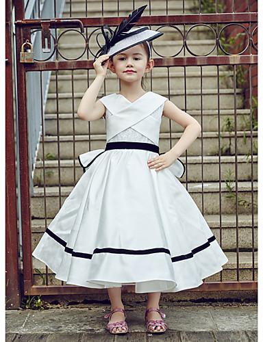 Vestito dalla ragazza di fiore di lunghezza del tè dell abito di sfera -  v-collo sleeveless del merletto del poliestere con il nastro del 5368566  2019 a ... 031dd49db45