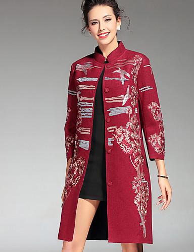 Γυναικεία Παλτό Καθημερινά   Μεγάλα Μεγέθη Κινεζικό στυλ Κέντημα ... 16c26c9068e