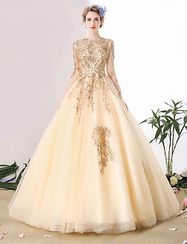 Ball Gown Scoop Neck Cathedral Train Beaded Lace Custom Wedding ...