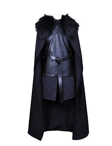 cheap Movie & TV Theme Costumes-Jon Snow Cosplay Costume Cloak Outfits Men's Movie Cosplay Black Top Pants Gloves Halloween Carnival New Year