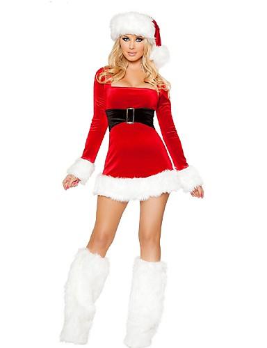 preiswerte Weihnachtskostüme-FrauClaus Cosplay Kostüme / Weihnachtsmann kleiden Weihnachten Damen Rot Terylen Cosplay Accessoires Weihnachten / Karneval Kostüme