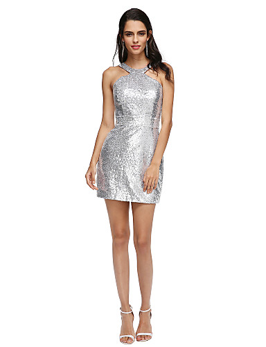 cheap Special Occasion Dresses-Sheath / Column Beaded & Sequin Cocktail Party Formal Evening Dress Halter Neck Short / Mini Sequined with Sash / Ribbon 2020