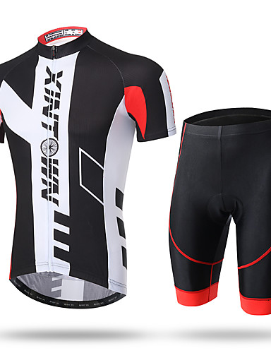 cheap Cycling-XINTOWN Men's Short Sleeve Cycling Jersey with Shorts Summer Coolmax® Mesh Spandex Novelty Bike Shorts Pants / Trousers Jersey 3D Pad Ultraviolet Resistant Quick Dry Breathable Reflective Strips