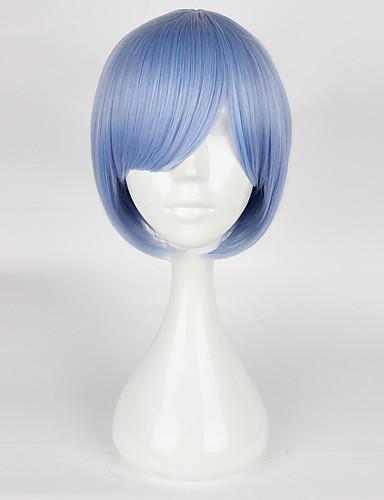povoljno Anime cosplay-Re: Zero - početak života u drugom svijetu Rem Ram Cosplay Wigs Žene 14 inch Otporna na toplinu vlakna Plava Anime