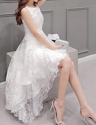 preiswerte Ausverkauf-Damen Übergrössen Party A-Linie Kleid Solide Asymmetrisch Weiß / Rüsche