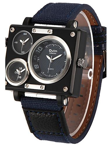 preiswerte Oulm®-Oulm Herrn Uhr Militäruhr Armbanduhr Quartz Stoff Weiß / Blau / Braun Drei-Zeit-Zonen Cool Analog Freizeit Schwarz Weiß Blau