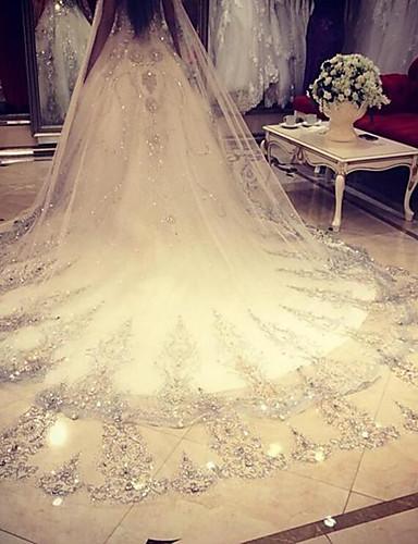 ม่านจัดงานแต่งงานชั้นหนึ่งชั้นหนึ่งพร้อมผ้าลูกไม้สุทธิ