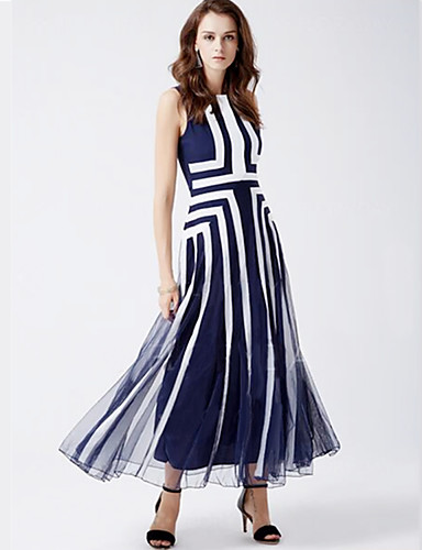 27d3b4b1 Women's Plus Size Boho Shift Dress,Striped Round Neck Maxi Sleeveless Blue  Nylon Summer Mid Rise Inelastic Medium 5397962 2019 – $28.99