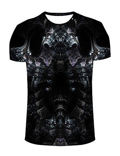 voordelige Uitverkoop-Heren Actief / Boho Print T-shirt Sport / Strand Grafisch Ronde hals Zwart / Korte mouw / Lente / Zomer