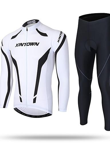 povoljno Odjeća za vožnju biciklom-XINTOWN Muškarci Dugih rukava Biciklistička majica s tajicama Crna s bijelim Bicikl Hlače Biciklistička majica Sportska odijela Ugrijati Vjetronepropusnost Pad 3D Reflektirajuće trake Povratak džep