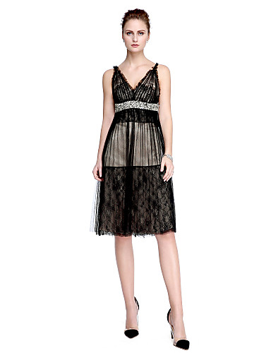 A-Line V Neck Knee Length Lace / Tulle Little Black Dress ...