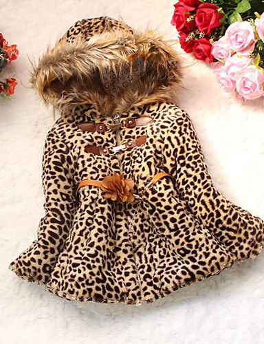 cheap Kids' Clothing Clearance-Toddler Girls' Animal Print Daily Leopard Long Sleeve Regular Cotton Down & Cotton Padded Camel