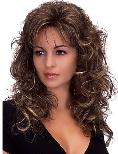 preiswerte Pflege & Haar-Synthetische Perücken Große Wellen Große Wellen Mit Pony Perücke Mittlerer Länge Dunkelbraun Synthetische Haare Damen Hitze Resistent Flauschige Dunkelbraun