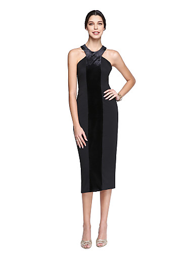 4a946bec07b2 Sheath   Column Halter Neck Tea Length Matte Satin   Velvet Chiffon Cocktail  Party   Homecoming   Prom Dress with Pleats by TS Couture® 5410659 2019 –  ...