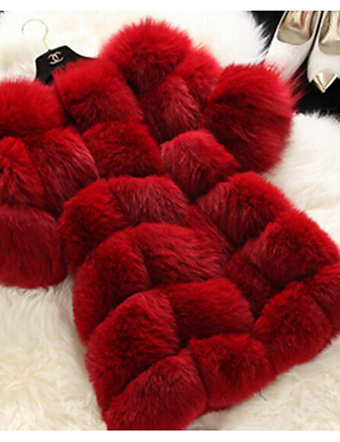 cheap Women's Furs & Leathers-Women's Winter Fur Coat Long Solid Color Party Evening Chic & Modern White Black Red S M L