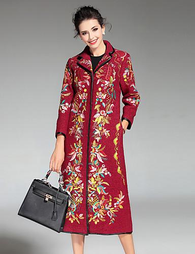 Γυναικεία Παλτό Καθημερινά   Μεγάλα Μεγέθη Κινεζικό στυλ Κέντημα ... fbd88ac4b69