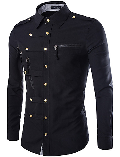 preiswerte Shirts mit langen Ärmeln-Herrn Solide - Militär Hemd, Klassischer Kragen Schlank Grundlegend Marinenblau / Langarm / Frühling / Herbst