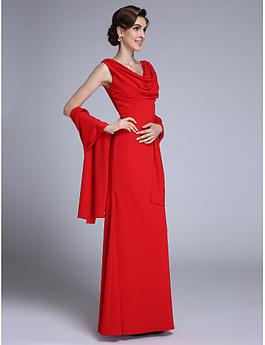 voordelige Wrap Dresses-Trompet / zeemeermin Col Tot de grond Chiffon Bruidsmoederjurken met Plooien door LAN TING BRIDE® / Wrap inbegrepen