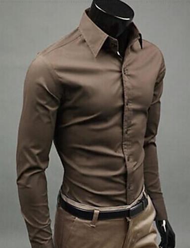levne Pánské košile-Pánské - Jednobarevné Práce Business / Šik ven Košile Štíhlý Žlutá / Dlouhý rukáv