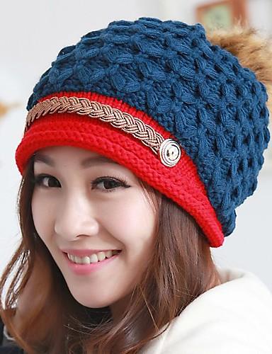 voordelige Mode-accessoires-Dames Actief Gebreid,Patchwork Beanie / Slouchy-Herfst Winter Geel Rood Blauw