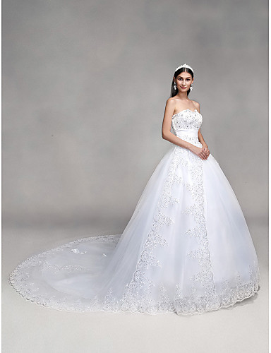 cheap Wedding Dresses-Ball Gown Sweetheart Neckline Sweep / Brush Train Tulle Over Lace Strapless Country / Glamorous Sparkle & Shine / Backless Wedding Dresses with Bowknot / Beading / Sequin 2020