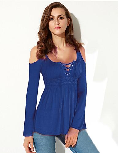 billige Dametopper-U-hals Store størrelser T-skjorte Dame - Ensfarget, Utskjæring Grunnleggende Lilla / Høst / Snøring / Sexy