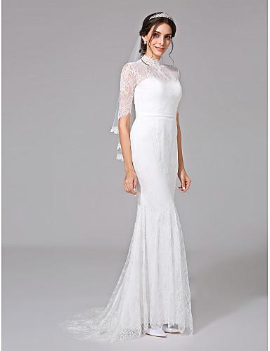 Mermaid / Trumpet Illusion Neck Sweep / Brush Train Lace Made-To-Measure Wedding Dresses Sash / Ribbon / Button LAN TING BRIDE® / Illusion Sleeve / Open Back