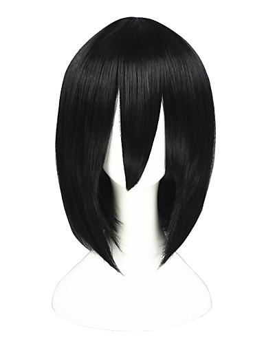 levne Cosplay paruky-Attack on Titan Mikasa Ackermann Cosplay Paruky Pánské Dámské 14 inch Horkuvzdorné vlákno Černá Anime