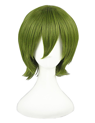 povoljno Anime cosplay-Kuroko nema Košarica Midorima Shintaro Cosplay Wigs Muškarci Žene 14 inch Otporna na toplinu vlakna Zelen Anime