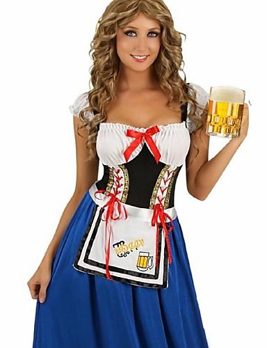 preiswerte Karriere Uniformen-Halloween Oktoberfest Dirndl Trachtenkleider Damen Kleid Bayerisch Kostüm