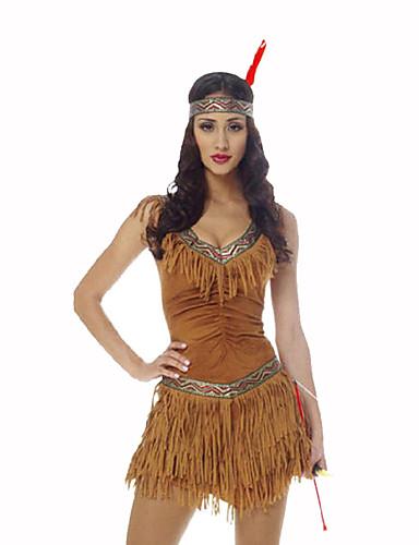povoljno Maske i kostimi-Američki Indijanac Žene Božić Halloween Karneval Festival / Praznik Poliester Bijela Žene Karneval kostime Print / Šeširi