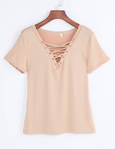billige Dametopper-V-hals T-skjorte Dame - Ensfarget, Rynket Hvit / Sommer / Snøring