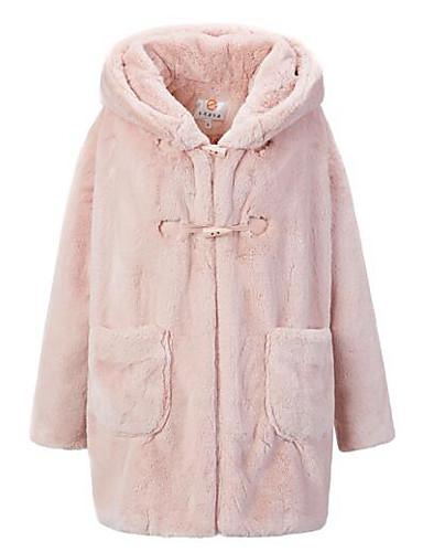 Γυναικεία Γούνινο παλτό Καθημερινά Απλό Μονόχρωμο 3151d857af1