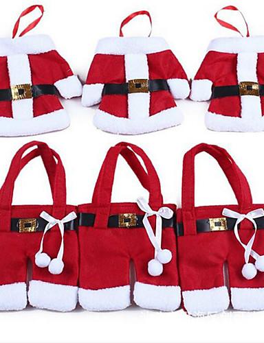 preiswerte Hängende Weihnachtsdekoration-6pcs / 3set Weihnachtsschmuck Weihnachten Weihnachtsdekoration für Haus Tisch Dekor Besteck Tasche Gabel&Messer Geschirrtasche
