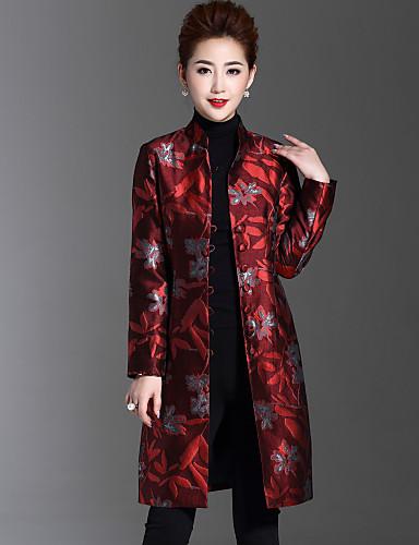 Γυναικεία Παλτό Καθημερινά   Μεγάλα Μεγέθη Κινεζικό στυλ Ζακάρ ... 48b87a8f52f