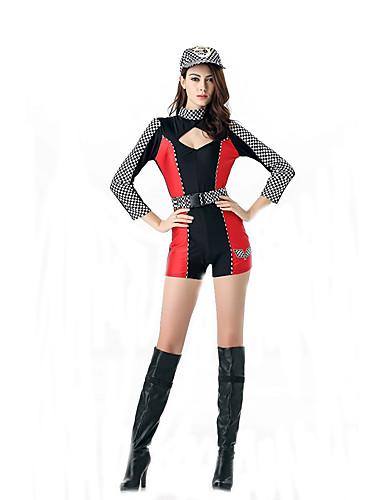 billige Sexy Uniformer-karriere Kostymer heiajenter Cosplay Kostumer Party-kostyme Dame Film-Cosplay Gul / Rød Trikot / Heldraktskostymer Belte Hatt Halloween Karneval polyester