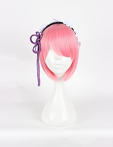 povoljno Anime cosplay-Re: Zero - početak života u drugom svijetu Rem Ram Cosplay Wigs Žene 14 inch Otporna na toplinu vlakna Pink Anime