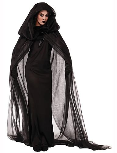 preiswerte Kostüme für Erwachsene-Hexe Damen Halloween Fest / Feiertage Polyester Schwarz Weiblich Karneval Kostüme Solide