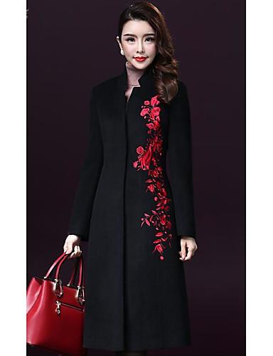 Γυναικεία Παλτό Καθημερινά Μεγάλα Μεγέθη Απλό Κέντημα d0e12e99d3a