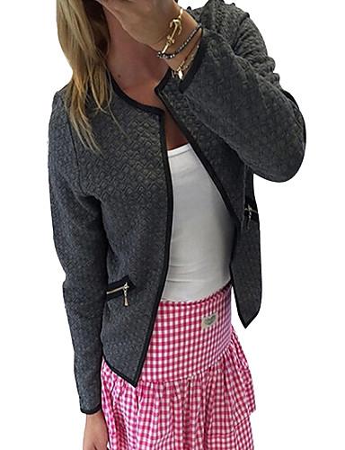 preiswerte Damen Blazer-Damen Alltag Frühling / Winter Kurz Jacke, Solide V-Ausschnitt Langarm Baumwolle Weiß / Schwarz / Grau
